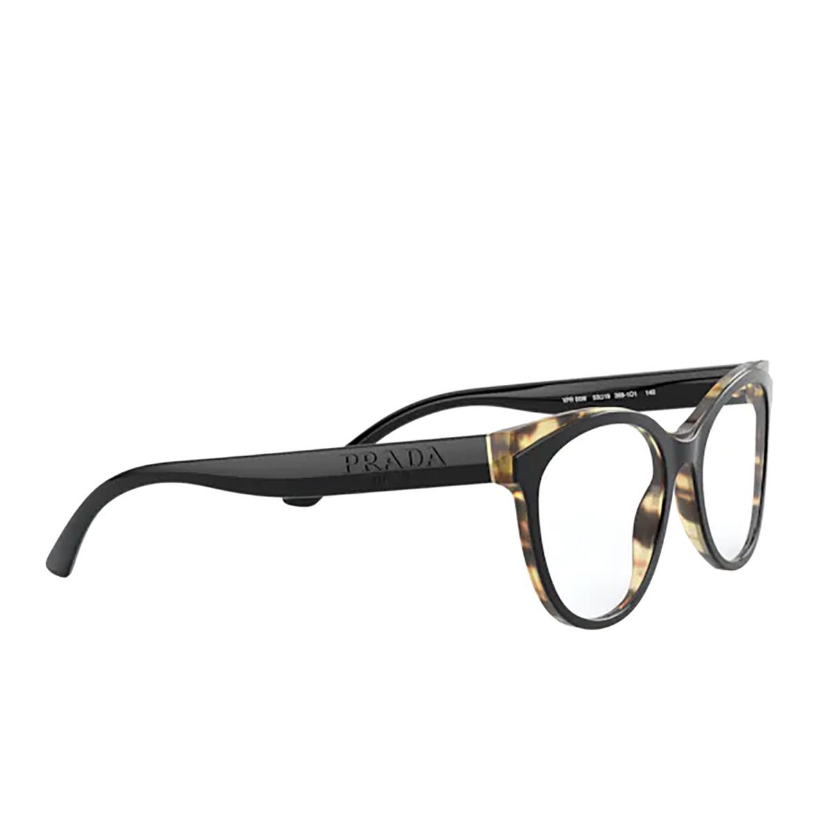 Prada® Butterfly Eyeglasses: PR 05WV color Black / Havana 3891O1 - three-quarters view.