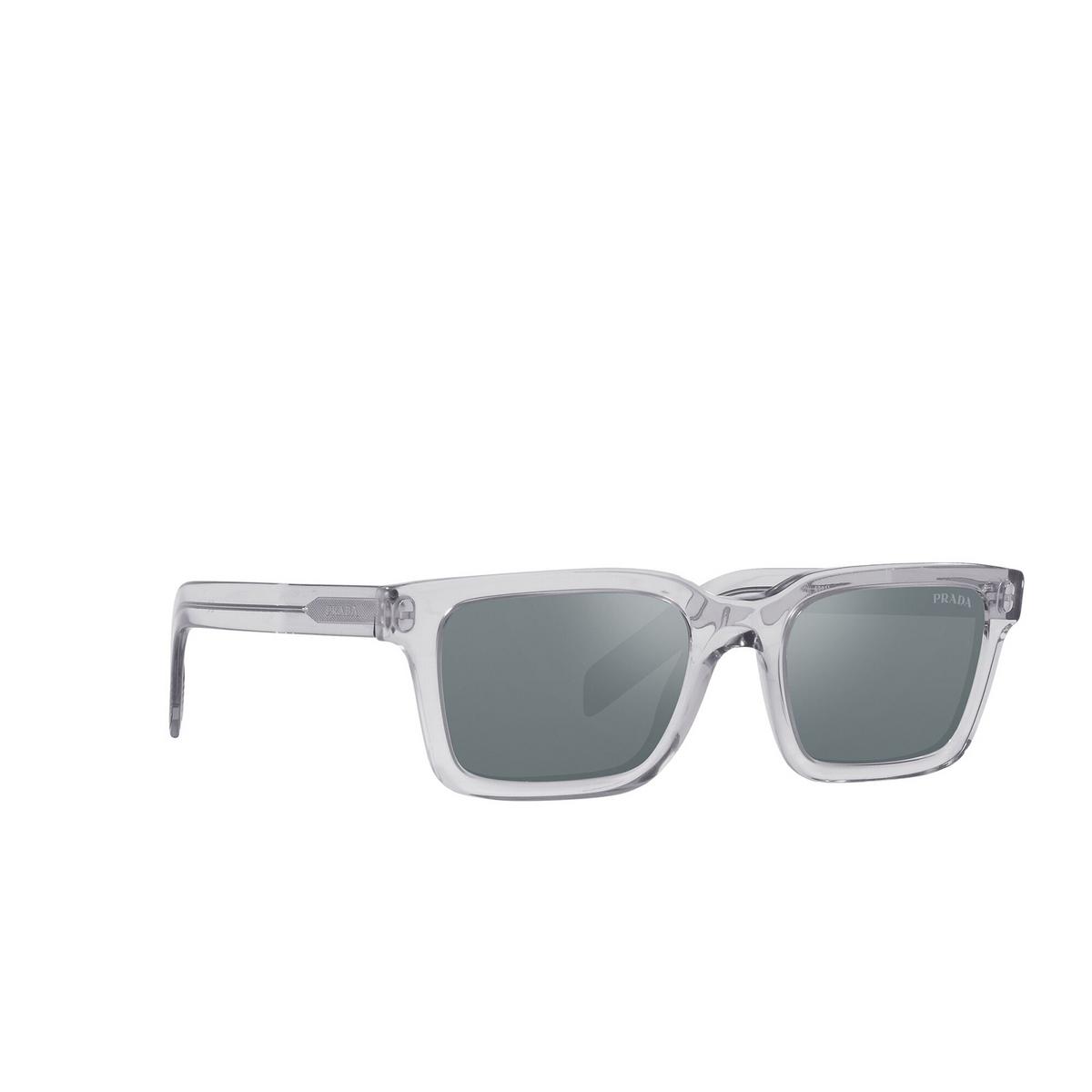 Prada® Rectangle Sunglasses: PR 06WS color Grey Crystal U4301A - three-quarters view.