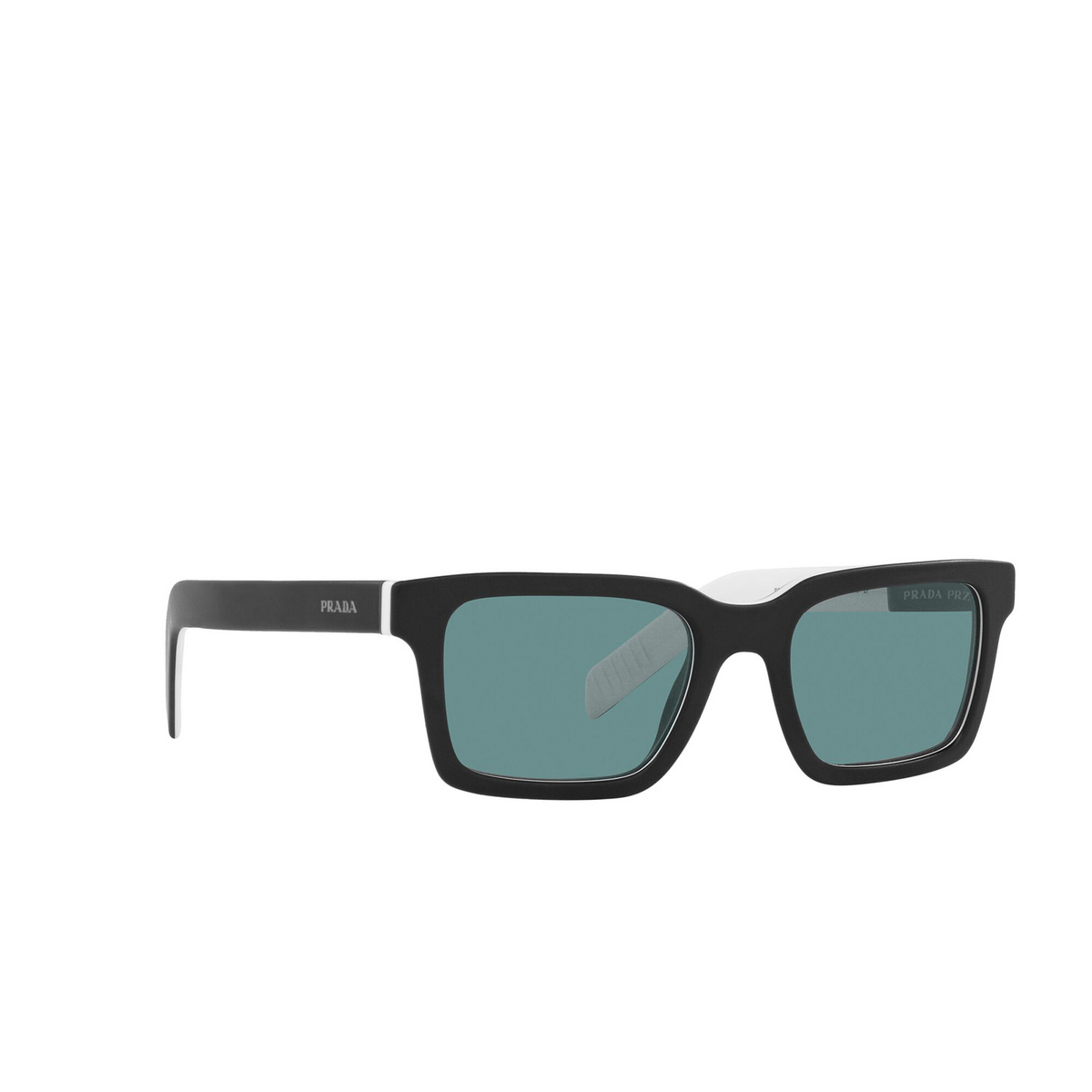 Prada® Rectangle Sunglasses: PR 06WS color Black White Black YC404D - three-quarters view.