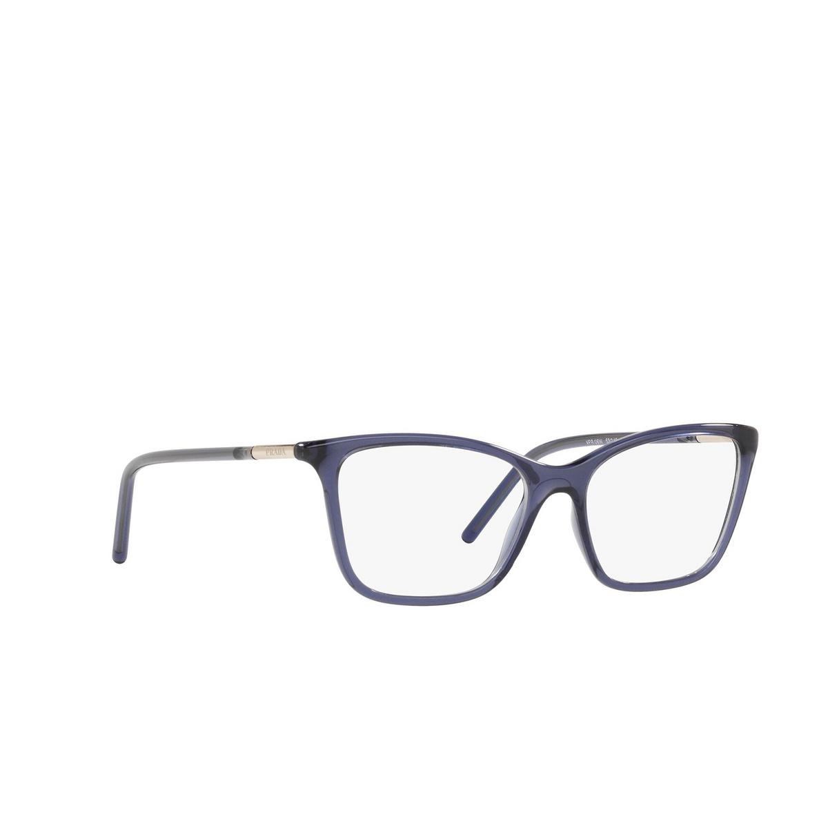 Prada® Cat-eye Eyeglasses: PR 08WV color Bluette 06M1O1 - three-quarters view.