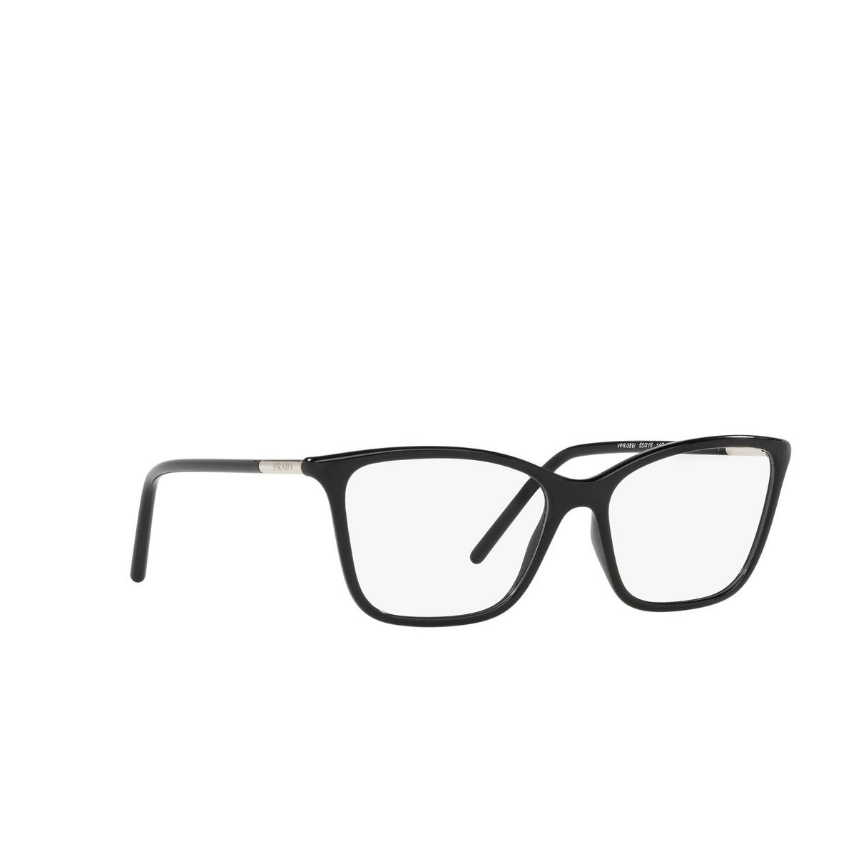 Prada® Cat-eye Eyeglasses: PR 08WV color Black 1AB1O1 - three-quarters view.