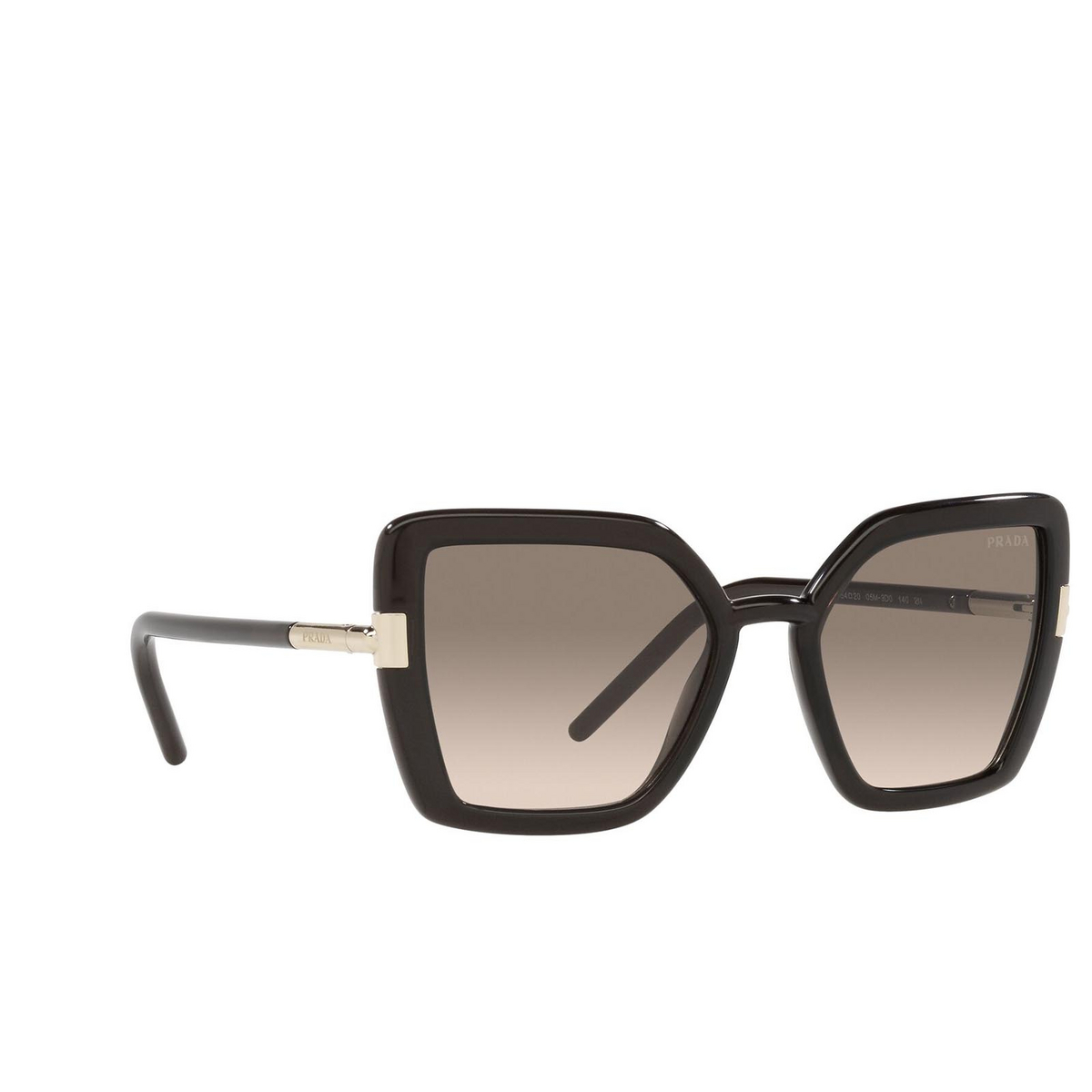Prada® Butterfly Sunglasses: PR 09WS color Crystal Dark Brown 05M3D0 - three-quarters view.