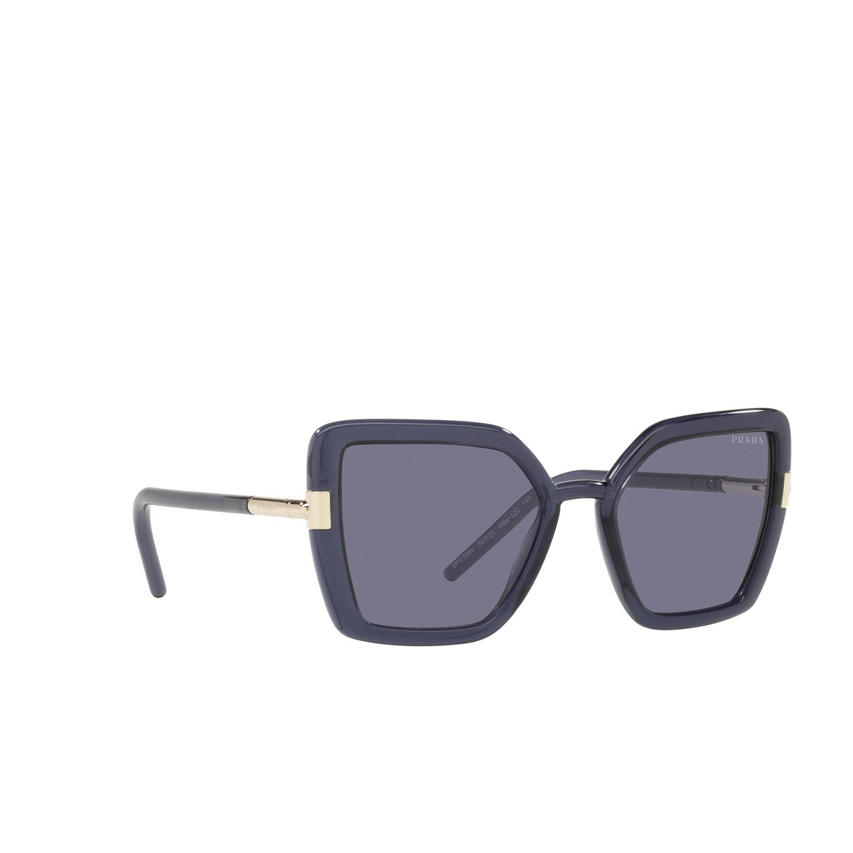 Prada® Butterfly Sunglasses: PR 09WS color Crystal Bluette 06M420 - three-quarters view.