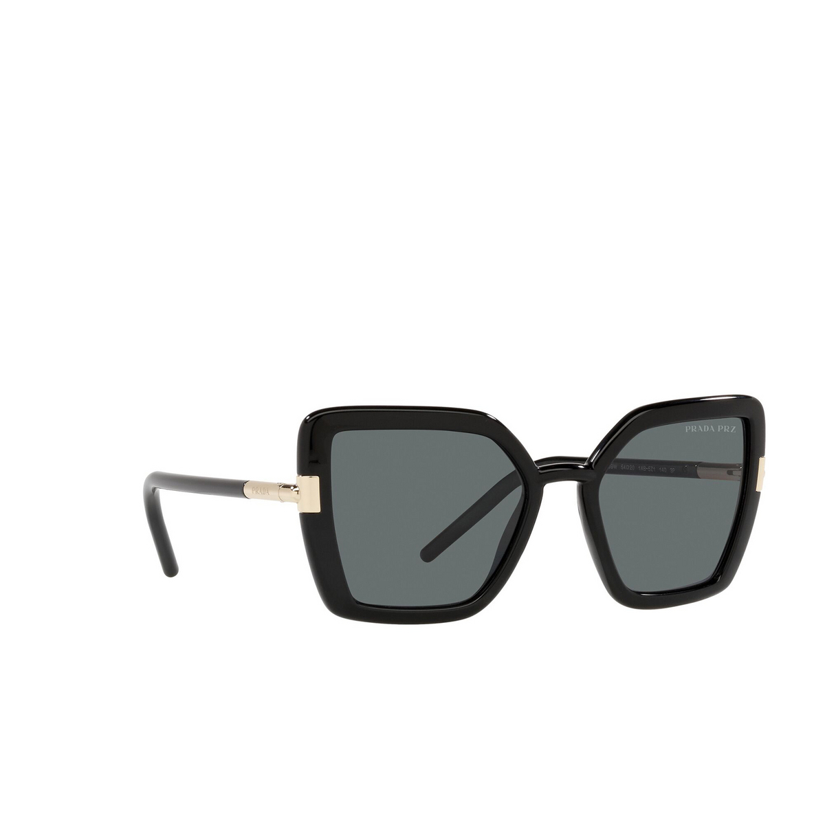 Prada® Butterfly Sunglasses: PR 09WS color Black 1AB5Z1 - three-quarters view.