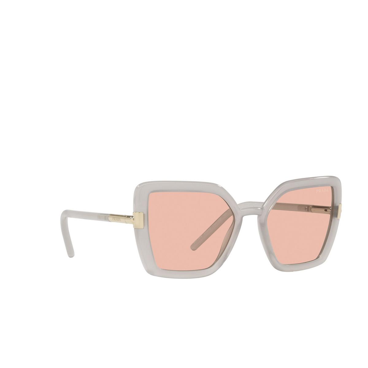 Prada® Butterfly Sunglasses: PR 09WS color Opal Grey TWH03F - three-quarters view.