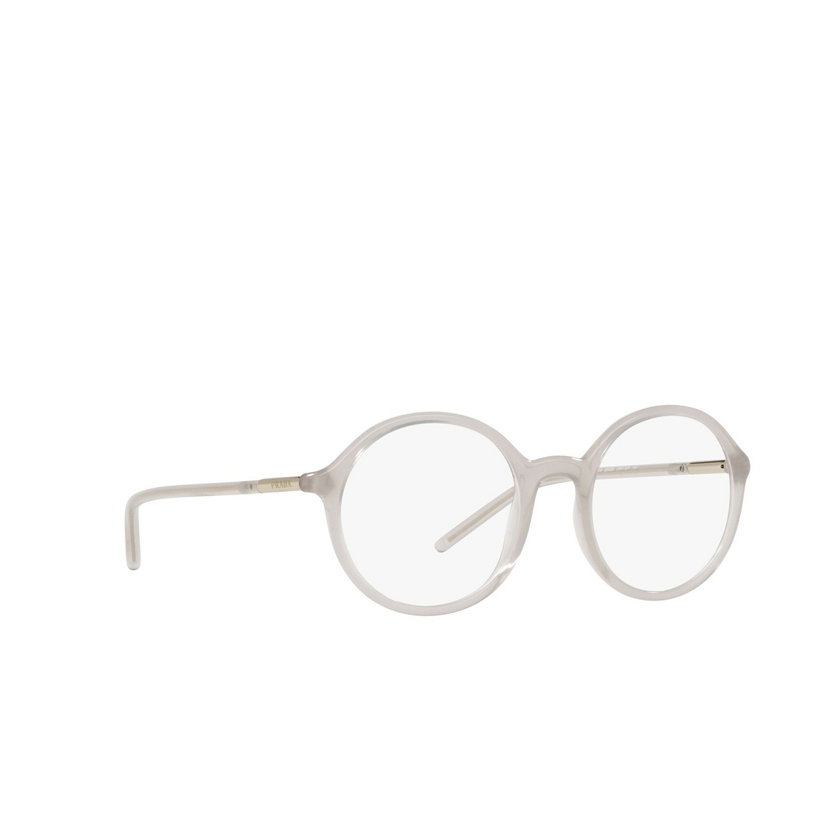 Prada® Round Eyeglasses: PR 09WV color Opal Grey TWH1O1 - three-quarters view.