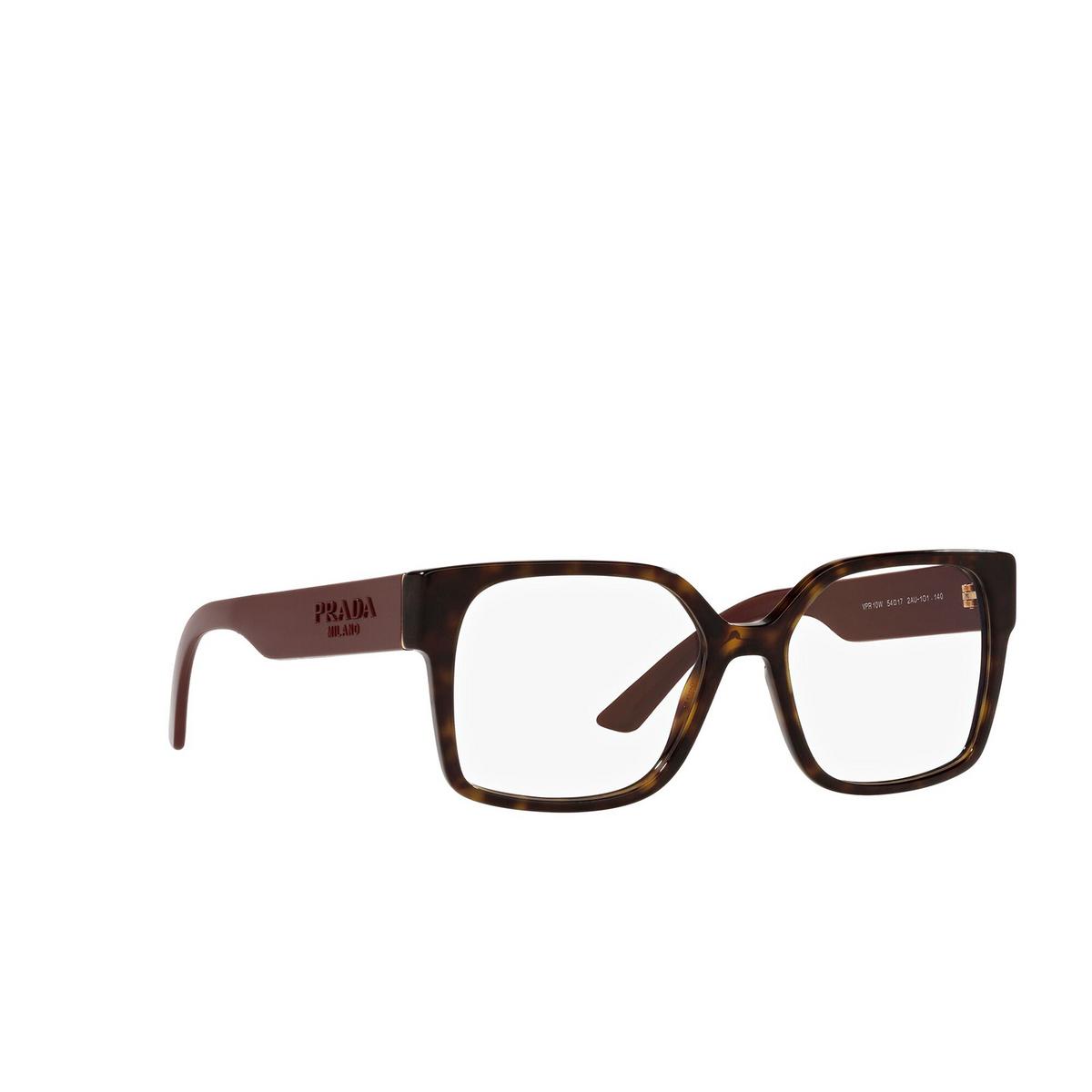 Prada® Square Eyeglasses: PR 10WV color Dark Havana 2AU1O1 - three-quarters view.