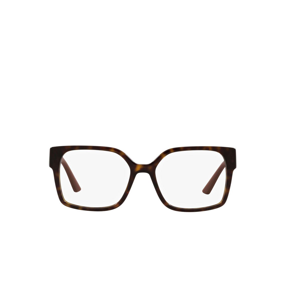 Prada® Square Eyeglasses: PR 10WV color Dark Havana 2AU1O1 - front view.