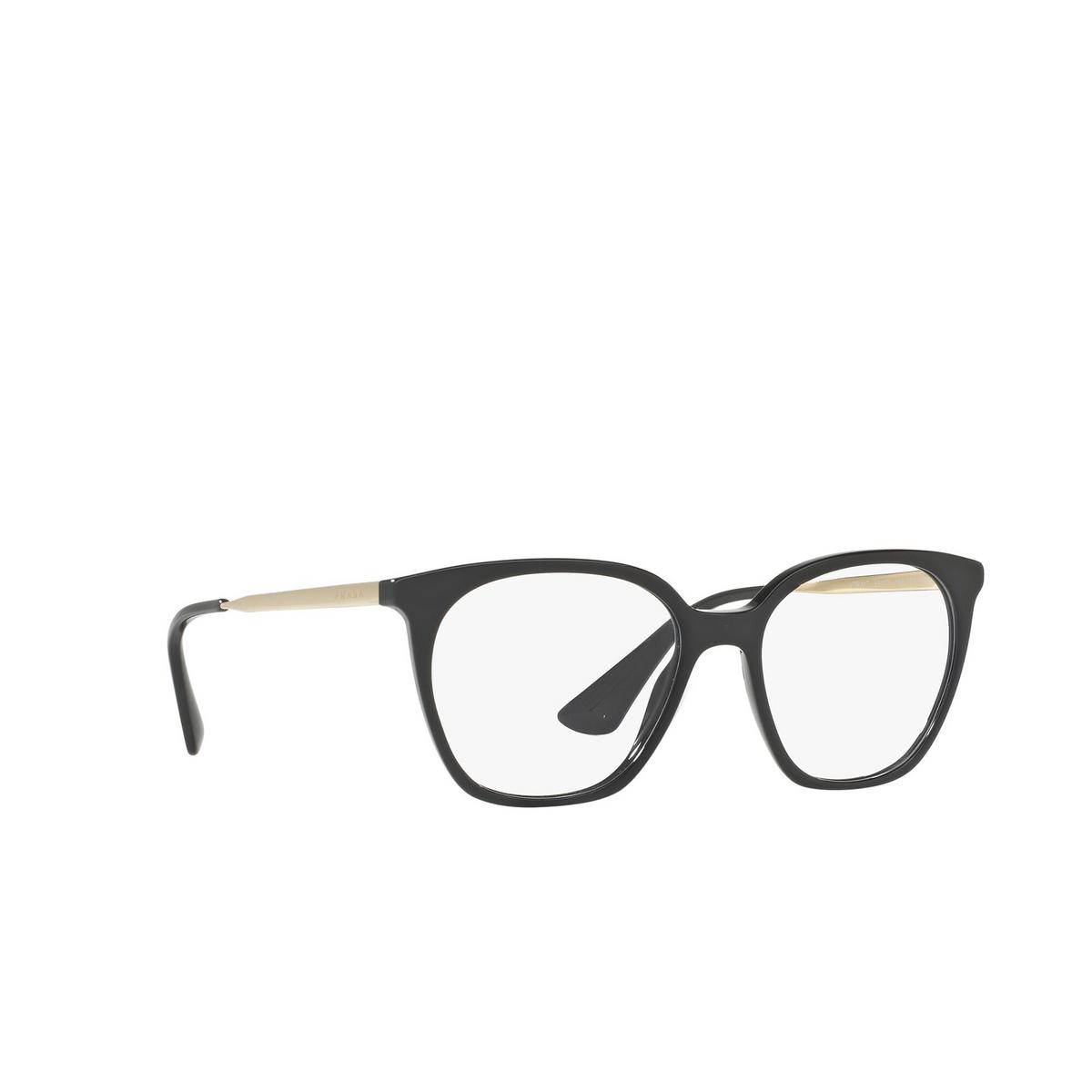 Prada® Square Eyeglasses: PR 11TV color Black 1AB1O1 - three-quarters view.