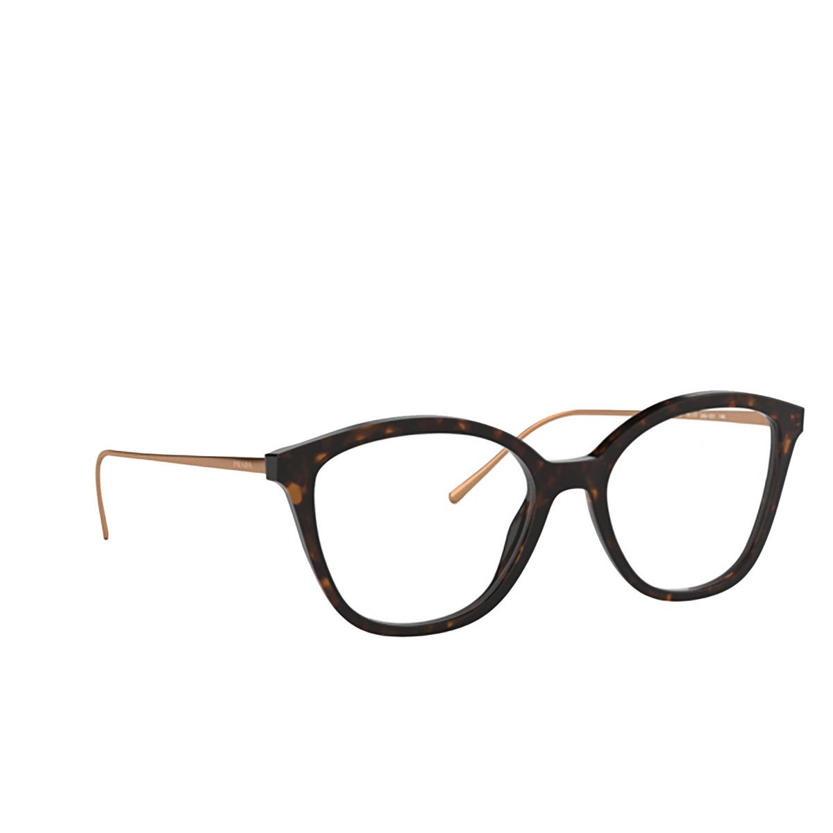 Prada® Square Eyeglasses: PR 11VV color Havana 2AU1O1 - three-quarters view.