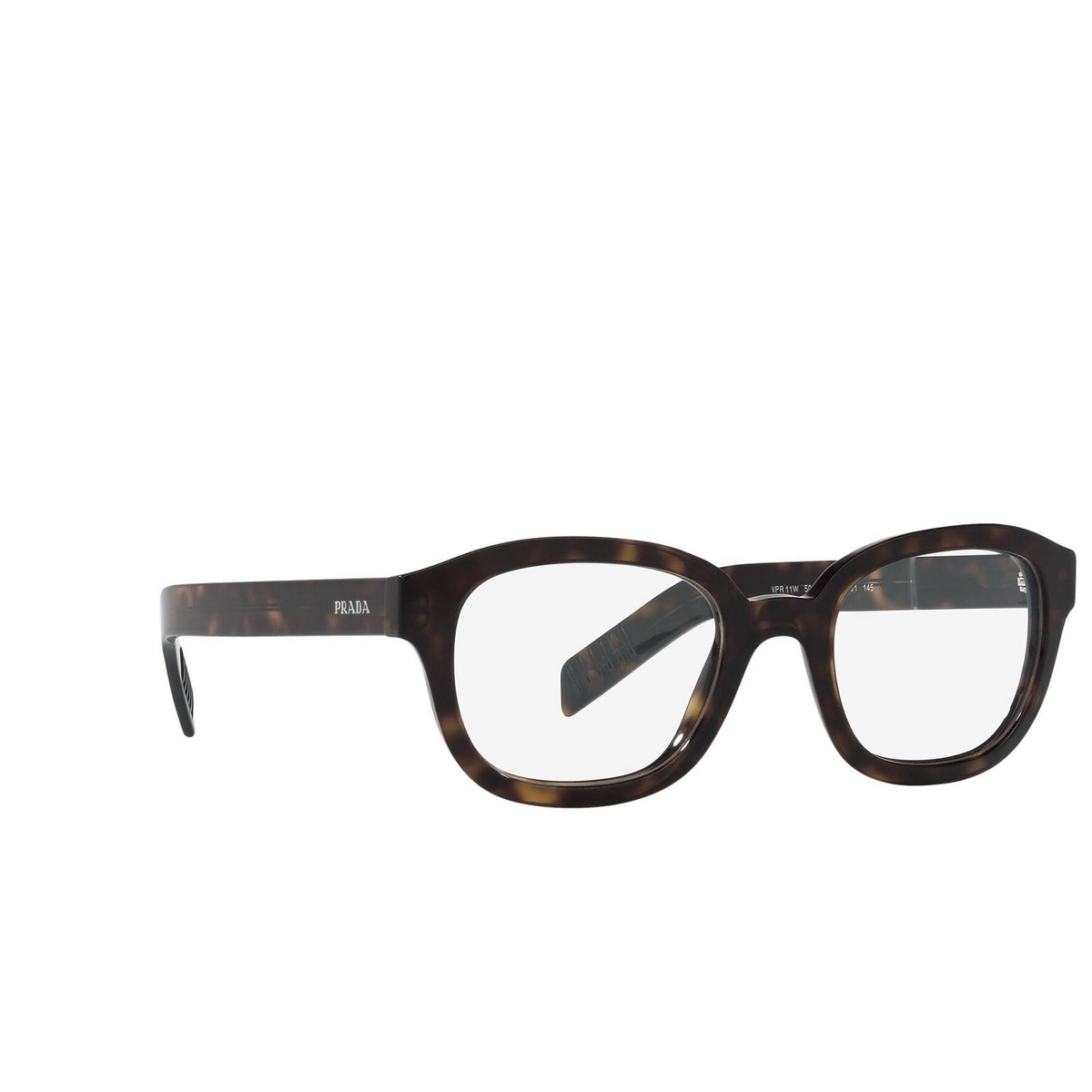 Prada® Square Eyeglasses: PR 11WV color Dark Havana 2AU1O1.