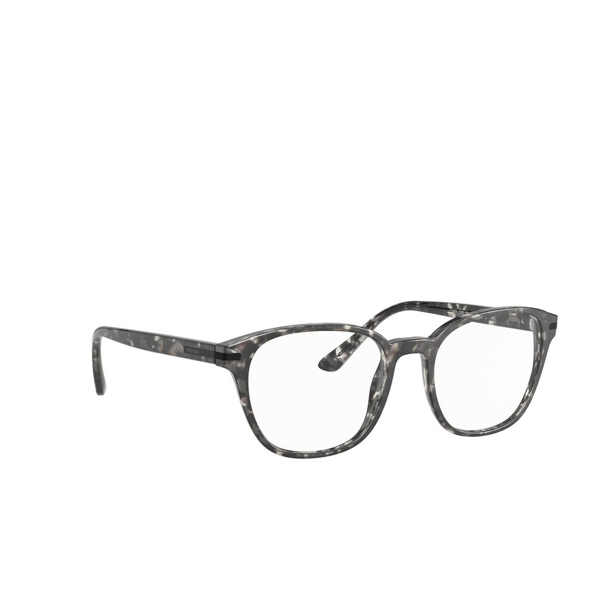 Prada® Square Eyeglasses: PR 12WV color Matte Grey Tortoise VH31O1 - three-quarters view.