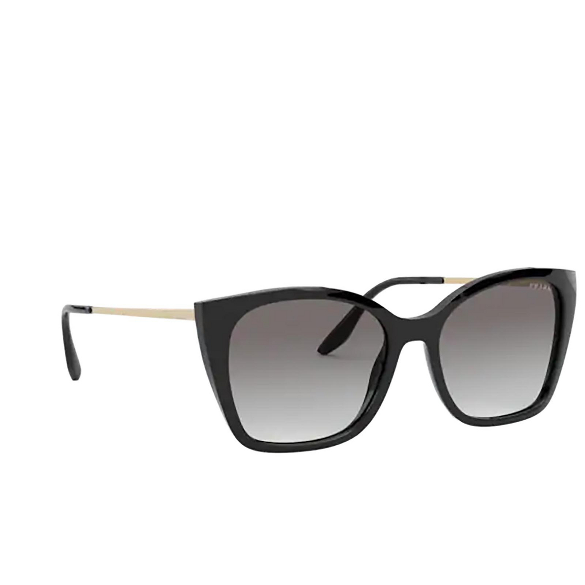Prada® Cat-eye Sunglasses: PR 12XS color Black 1AB0A7 - three-quarters view.