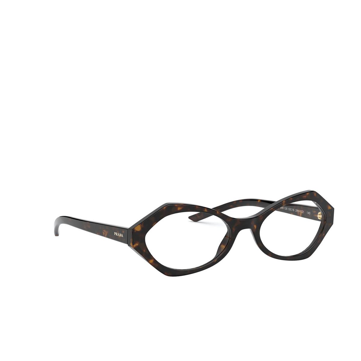 Prada® Irregular Eyeglasses: PR 12XV color Havana 2AU1O1 - three-quarters view.