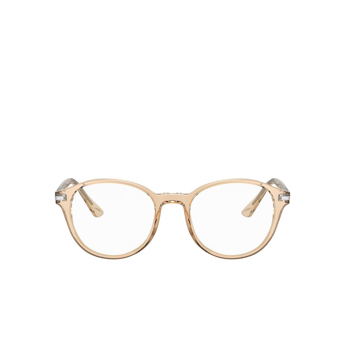 Prada® Round Eyeglasses: PR 13WV color Crystal Amber 01N1O1 - front view.