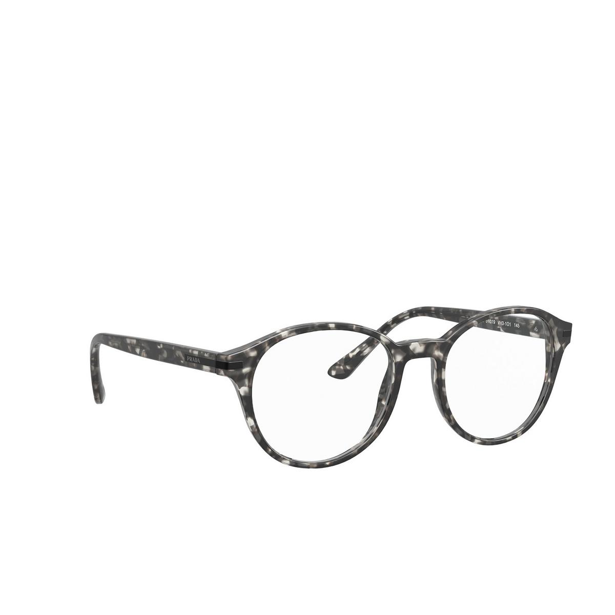 Prada® Round Eyeglasses: PR 13WV color Matte Grey Tortoise VH31O1 - three-quarters view.