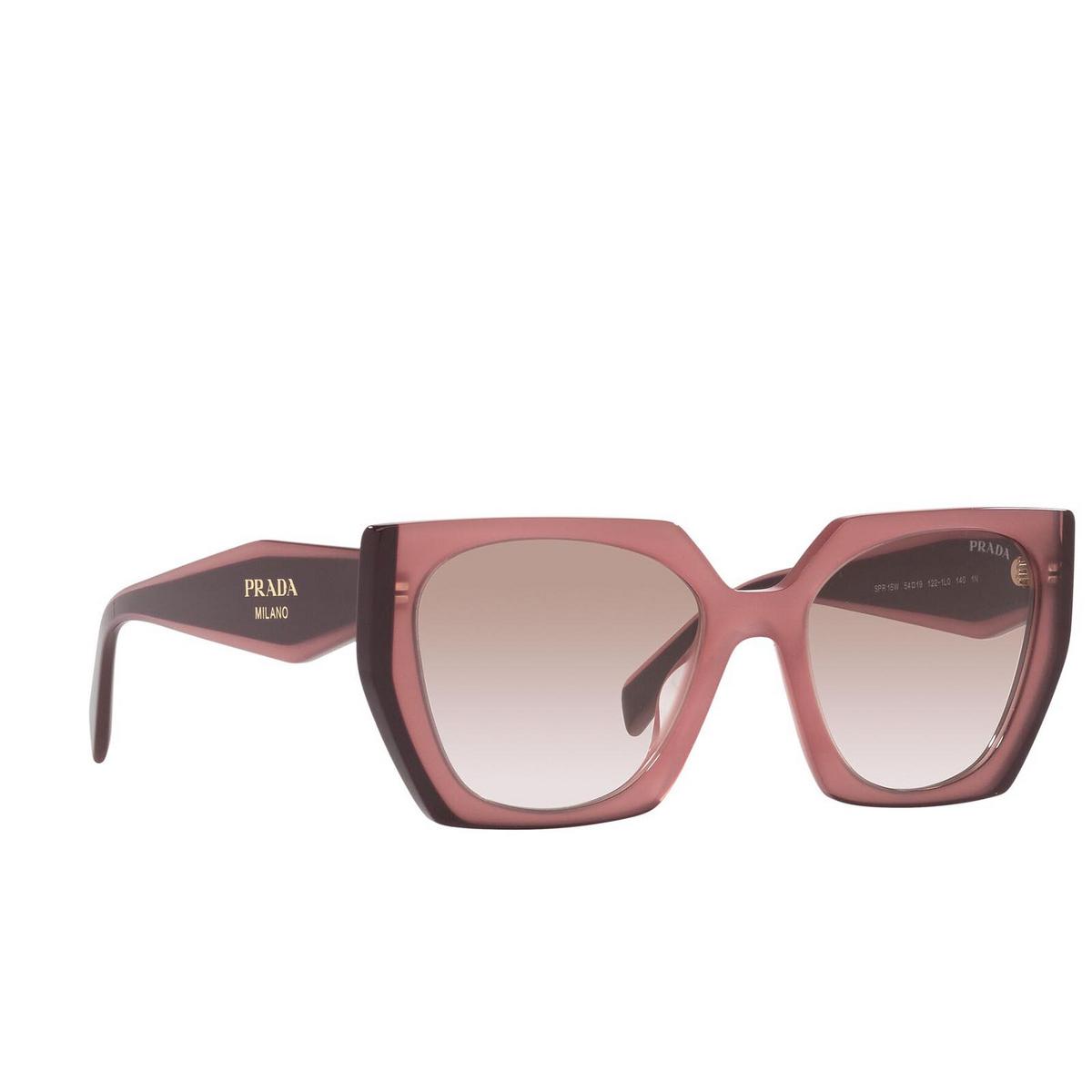 Prada® Square Sunglasses: PR 15WS color Opal Garnet 1221L0 - three-quarters view.