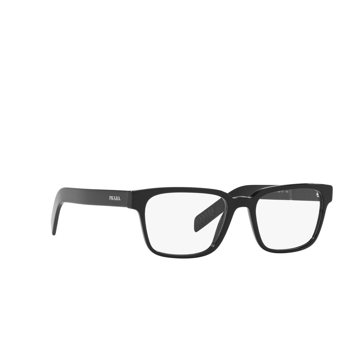 Prada® Rectangle Eyeglasses: PR 15WV color Black 1AB1O1 - three-quarters view.
