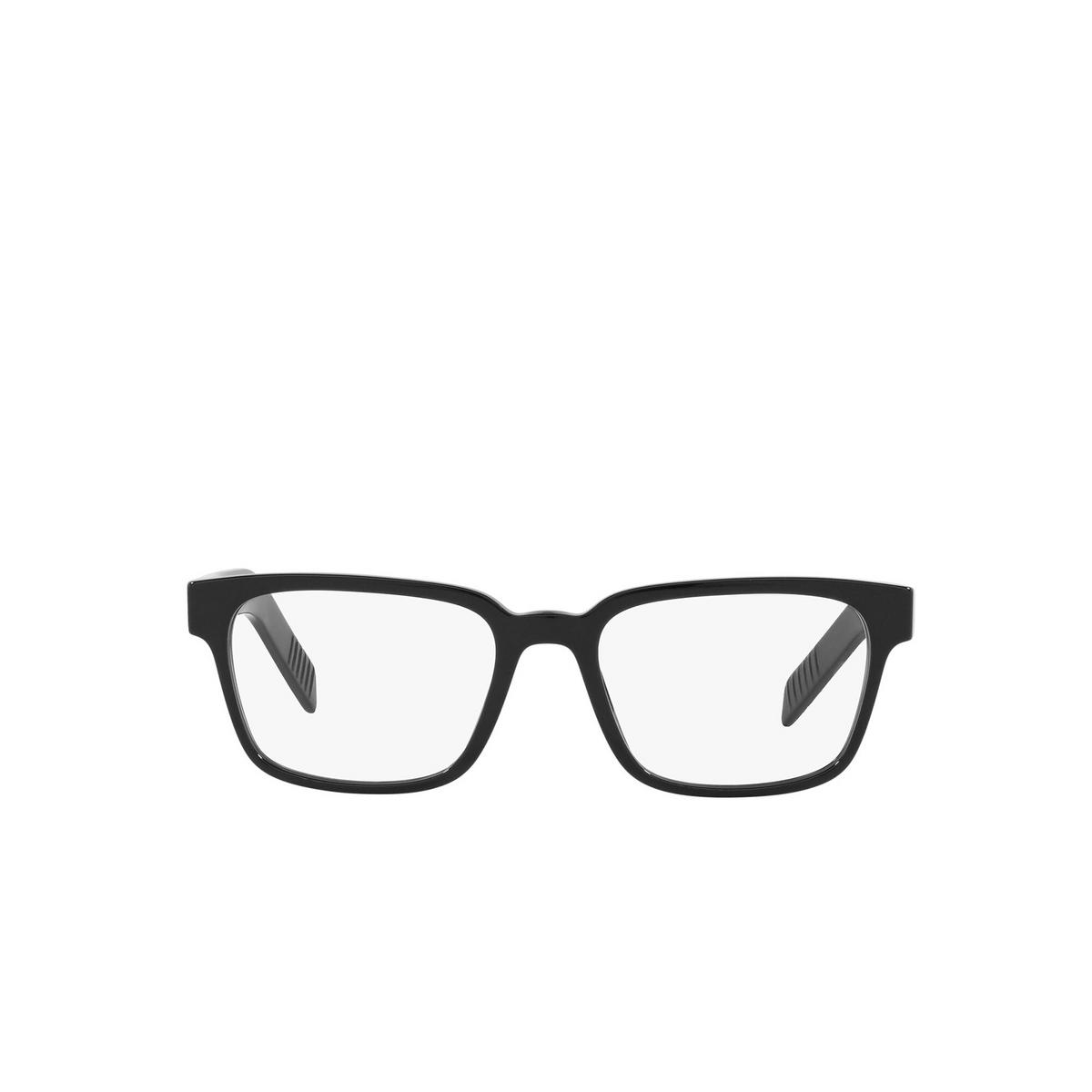 Prada® Rectangle Eyeglasses: PR 15WV color Black 1AB1O1 - front view.