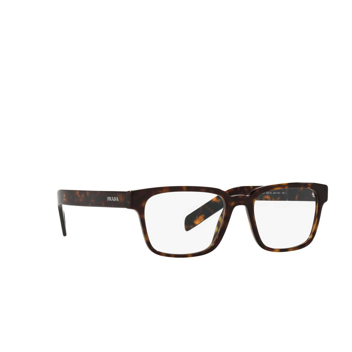 Prada® Rectangle Eyeglasses: PR 15WV color Tortoise 2AU1O1 - three-quarters view.