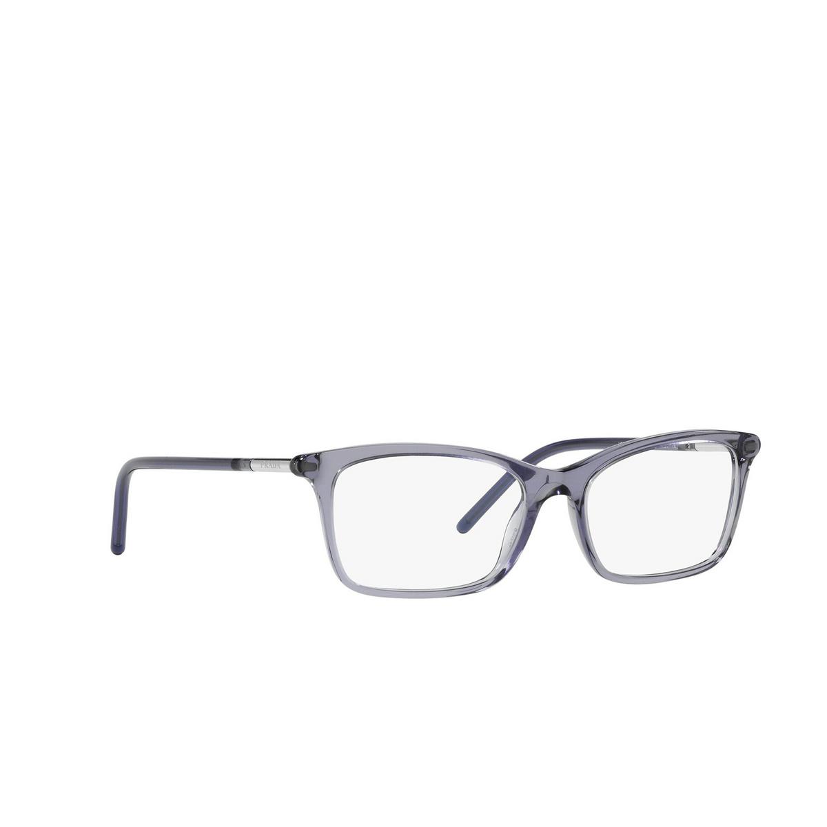 Prada® Rectangle Eyeglasses: PR 16WV color Bluette Crystal 06M1O1 - three-quarters view.