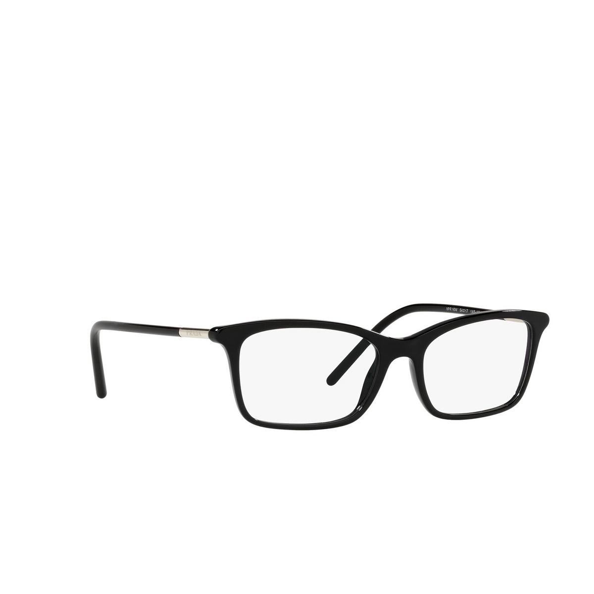 Prada® Rectangle Eyeglasses: PR 16WV color Black 1AB1O1 - three-quarters view.