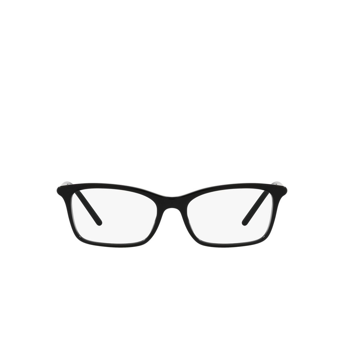 Prada® Rectangle Eyeglasses: PR 16WV color Black 1AB1O1 - front view.