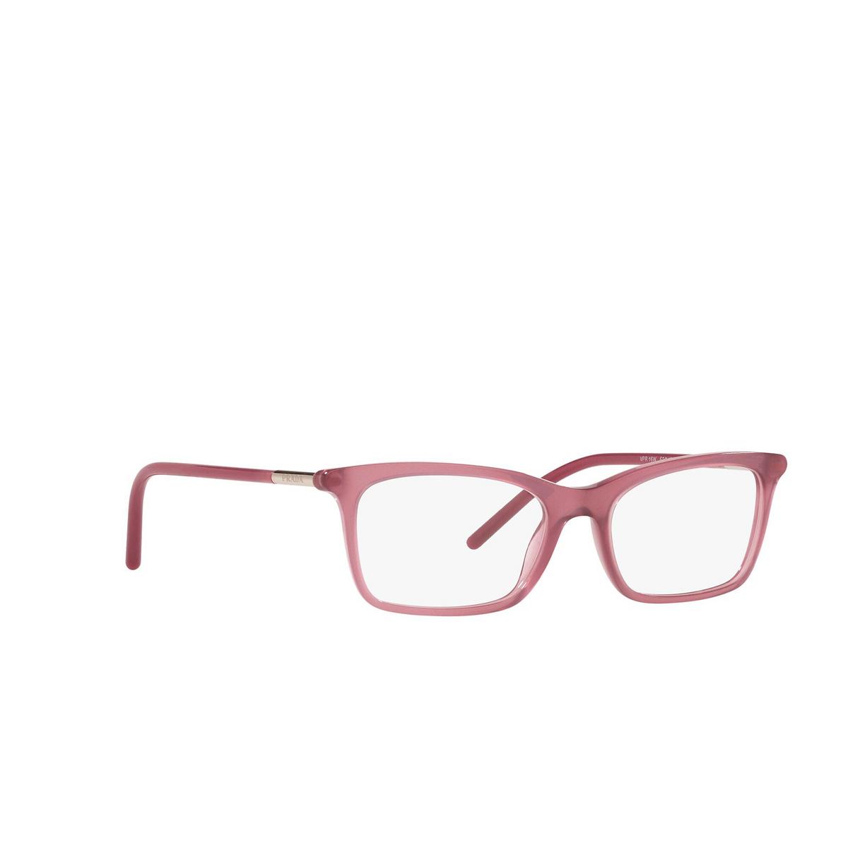 Prada® Rectangle Eyeglasses: PR 16WV color Opal Bordeaux 2BM1O1 - three-quarters view.