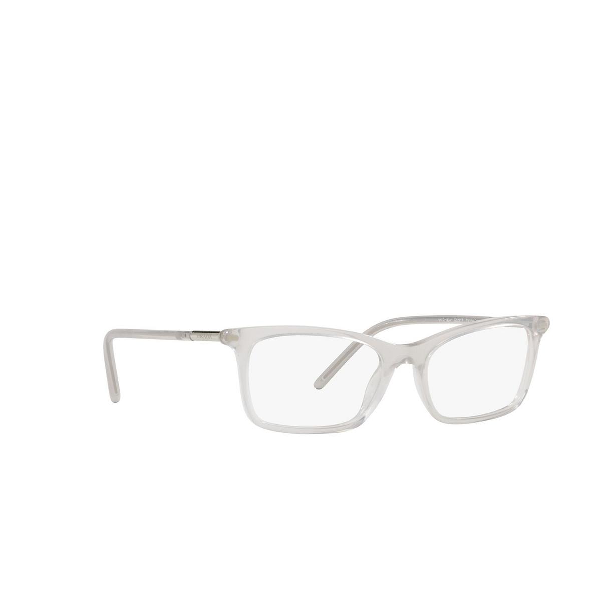 Prada® Rectangle Eyeglasses: PR 16WV color Opal Grey TWH1O1 - three-quarters view.