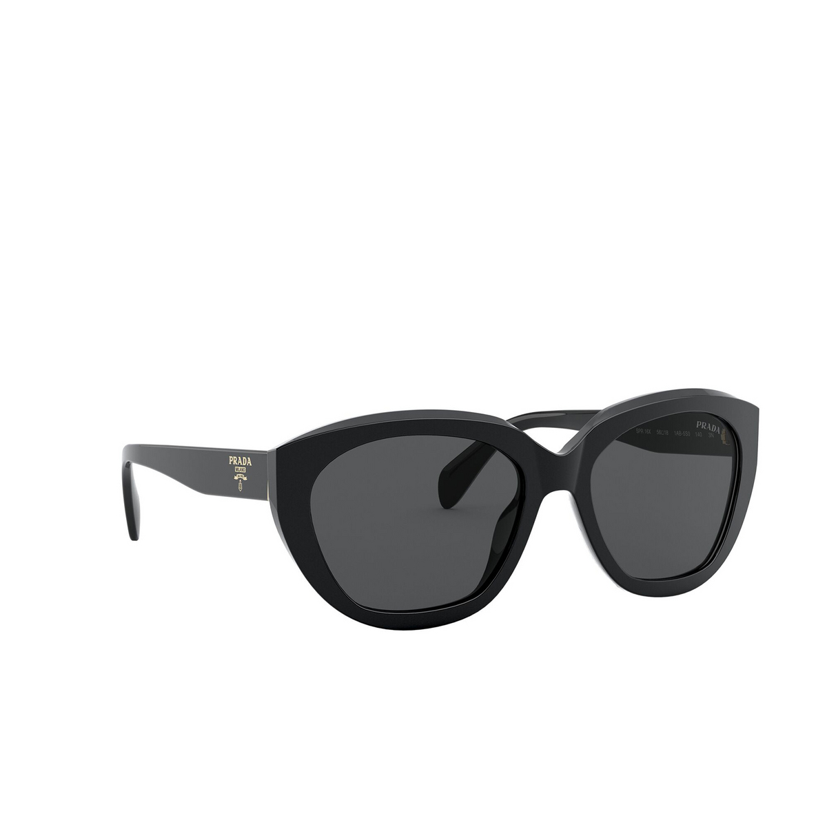 Prada® Butterfly Sunglasses: PR 16XS color Black 1AB5S0 - three-quarters view.
