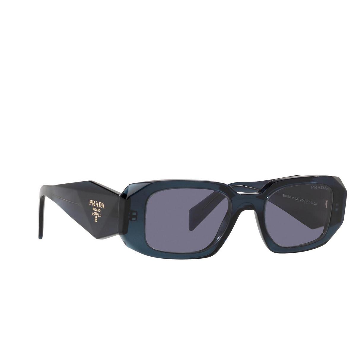 Prada® Rectangle Sunglasses: PR 17WS color Blue Crystal 08Q420 - three-quarters view.