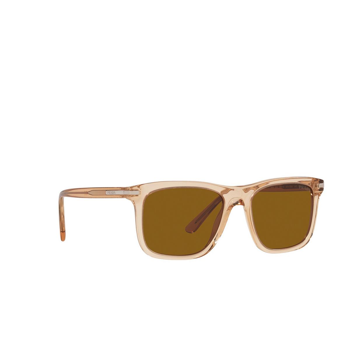 Prada® Rectangle Sunglasses: PR 18WS color Amber Crystal 01N05M - three-quarters view.