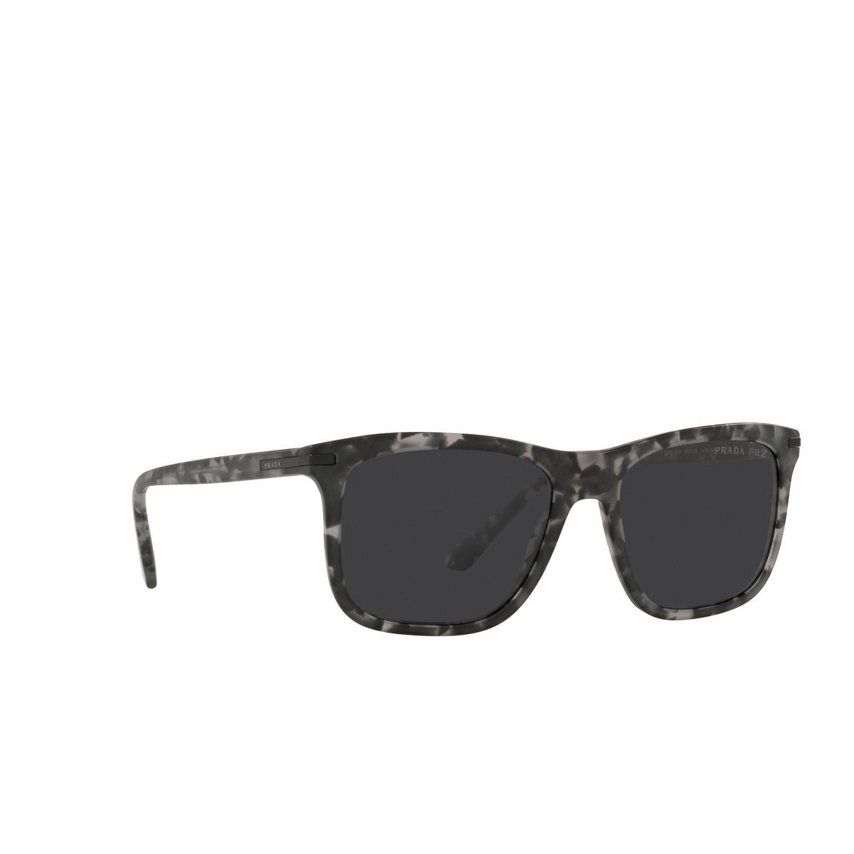 Prada® Rectangle Sunglasses: PR 18WS color Matte Dark Grey Tortoise VH308G - three-quarters view.