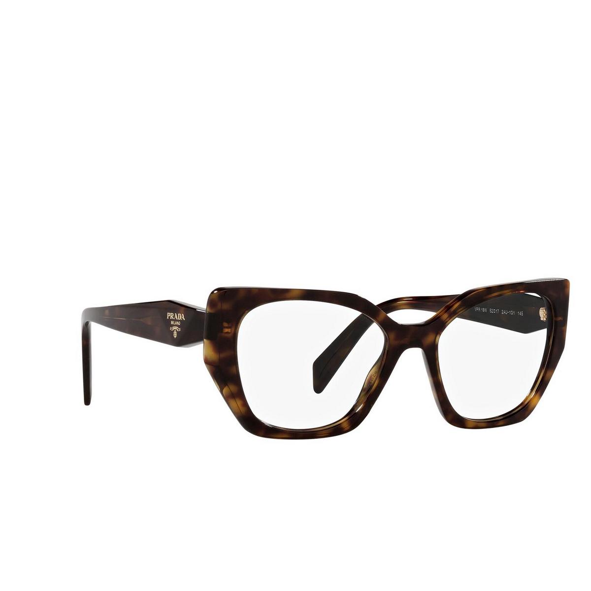 Prada® Irregular Eyeglasses: PR 18WV color Tortoise 2AU1O1 - three-quarters view.