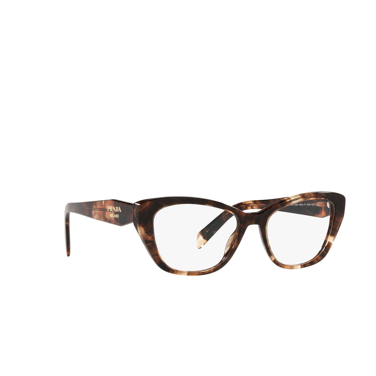Prada® Cat-eye Eyeglasses: PR 19WV color Caramel Tortoise 07R1O1 - three-quarters view.