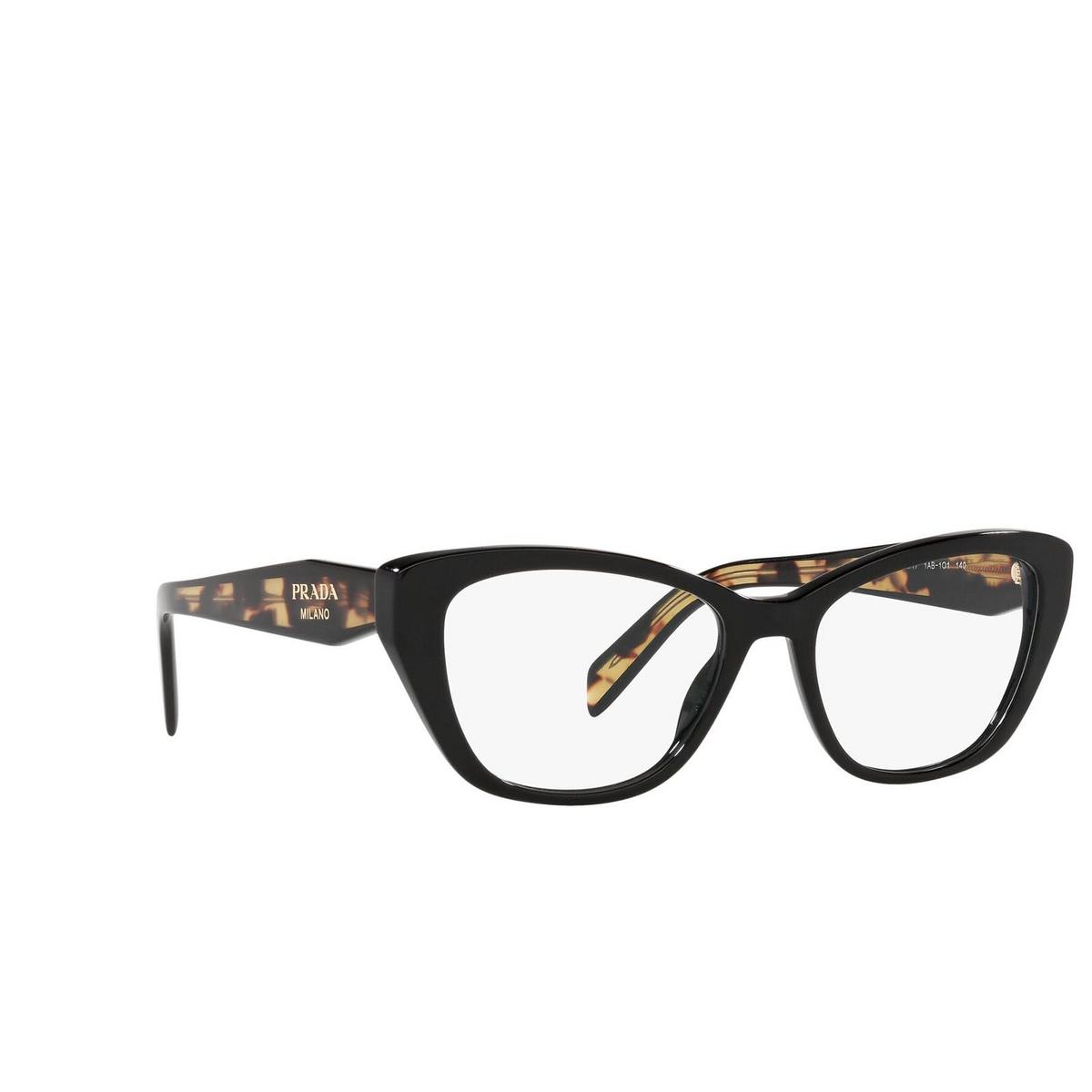 Prada® Cat-eye Eyeglasses: PR 19WV color Black 1AB1O1 - three-quarters view.