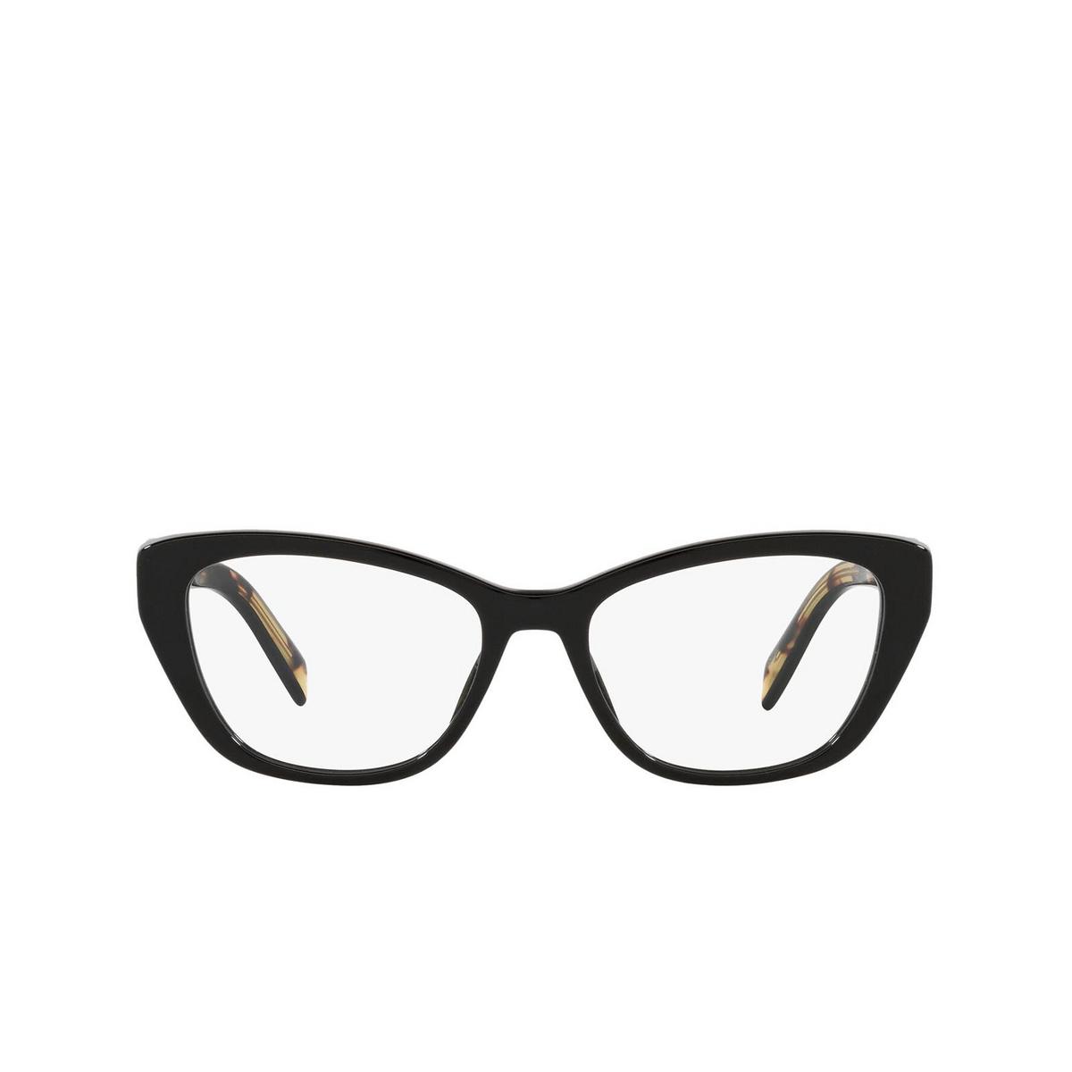Prada® Cat-eye Eyeglasses: PR 19WV color Black 1AB1O1 - front view.