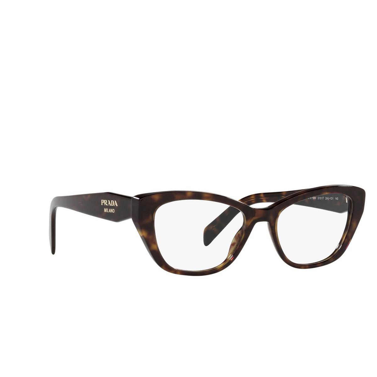 Prada® Cat-eye Eyeglasses: PR 19WV color Tortoise 2AU1O1 - three-quarters view.