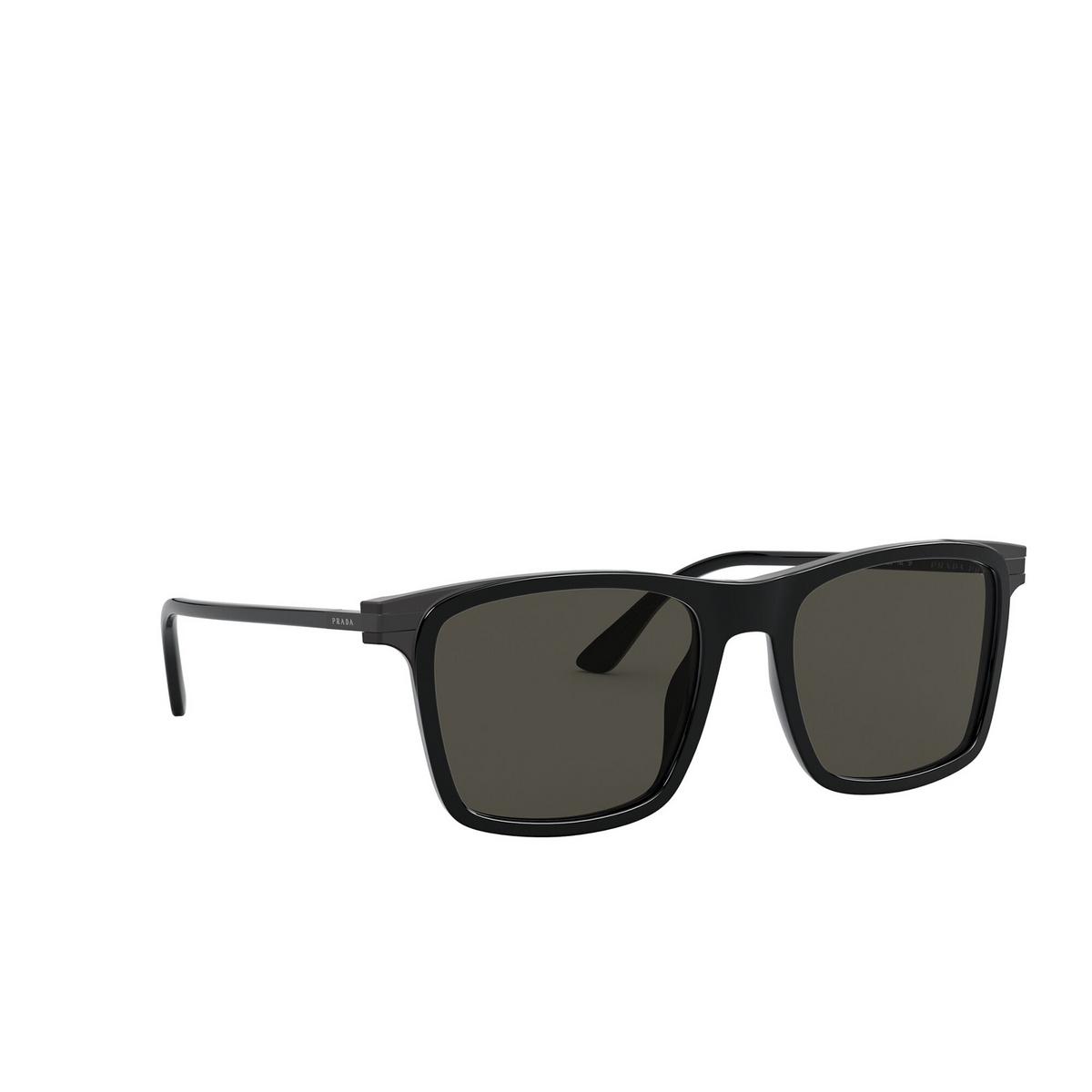 Prada® Square Sunglasses: PR 19XS color Black 07F08G - three-quarters view.