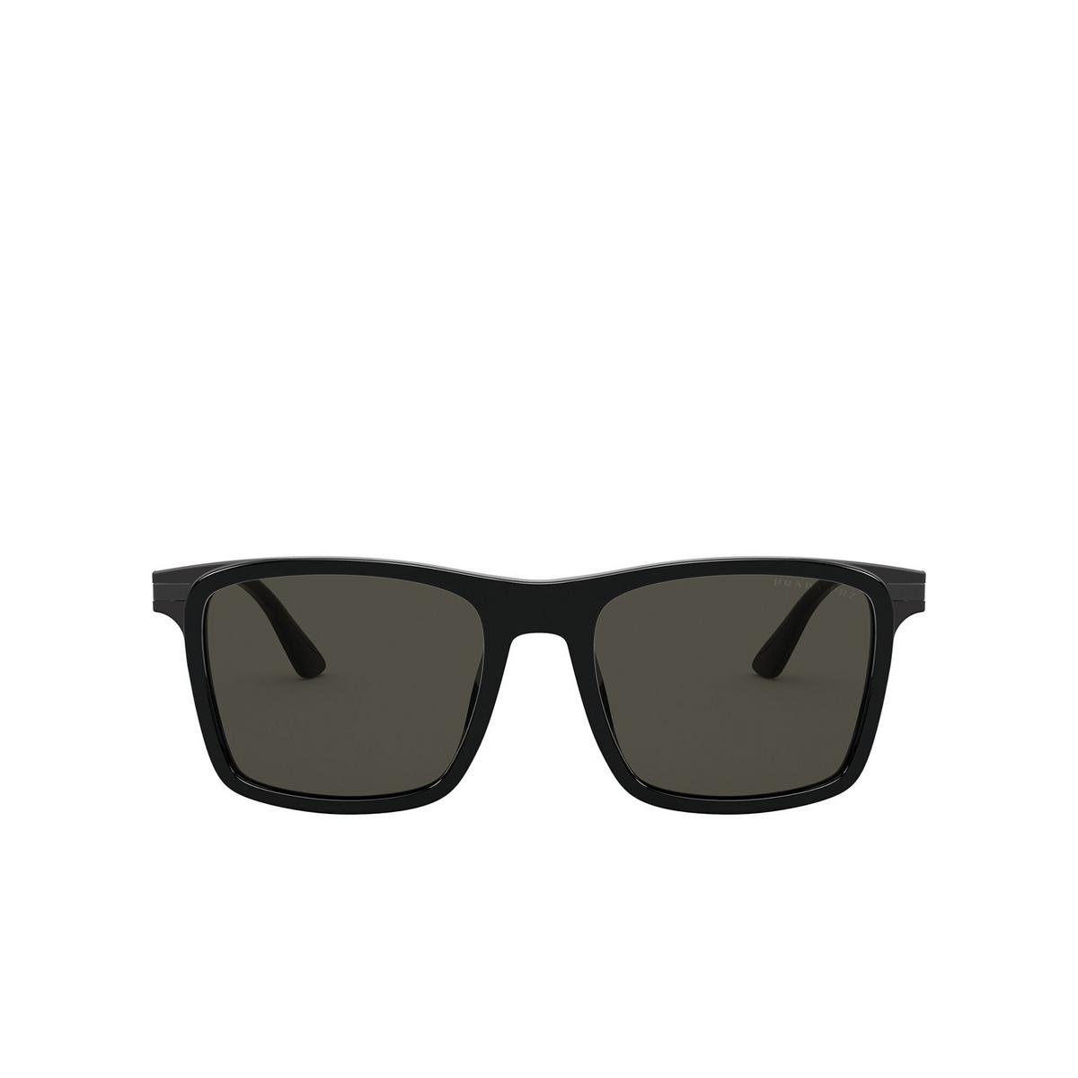 Prada® Square Sunglasses: PR 19XS color Black 07F08G - front view.