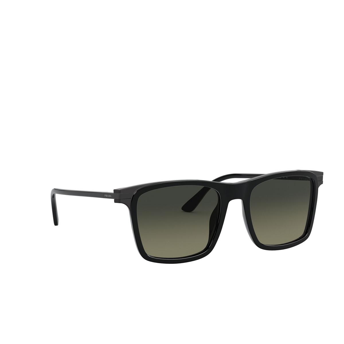 Prada® Square Sunglasses: PR 19XS color Black 07F09G - three-quarters view.