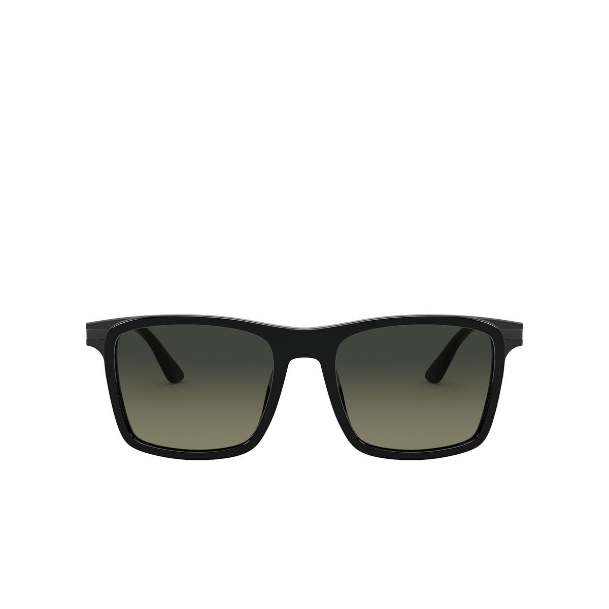 Prada® Square Sunglasses: PR 19XS color Black 07F09G - front view.