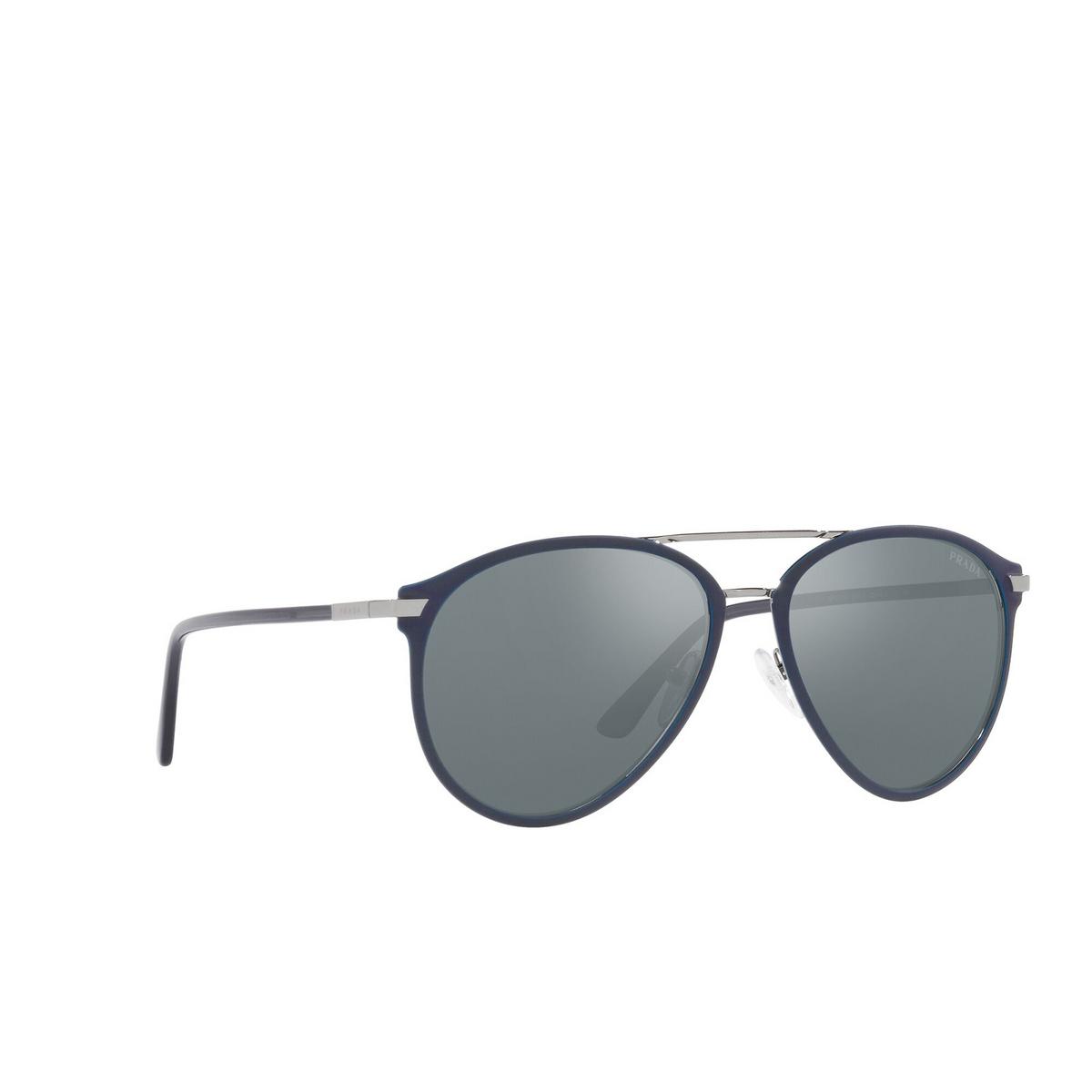 Prada® Aviator Sunglasses: PR 51WS color Matte Baltic / Gunmetal 02N01A - three-quarters view.