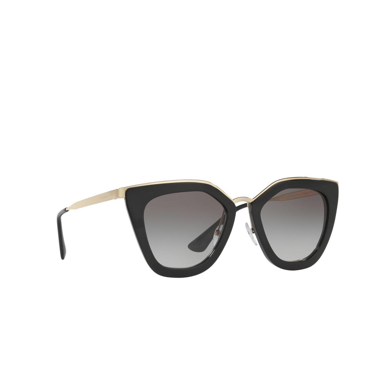 Prada® Cat-eye Sunglasses: PR 53SS color Black 1AB0A7 - three-quarters view.