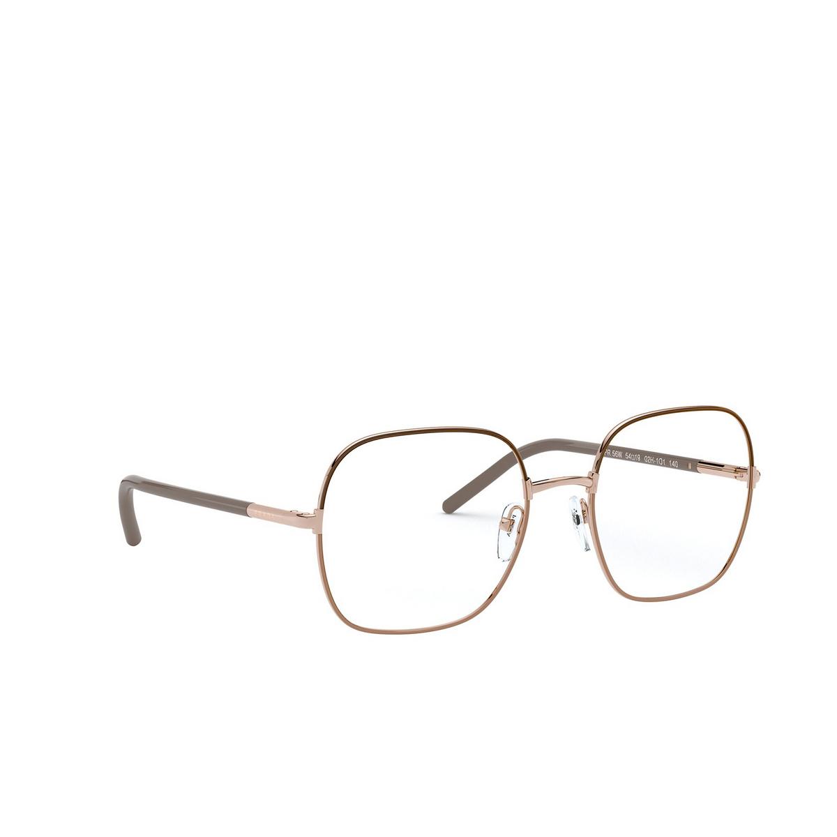 Prada® Rectangle Eyeglasses: PR 56WV color Brown / Beige 02H1O1 - three-quarters view.