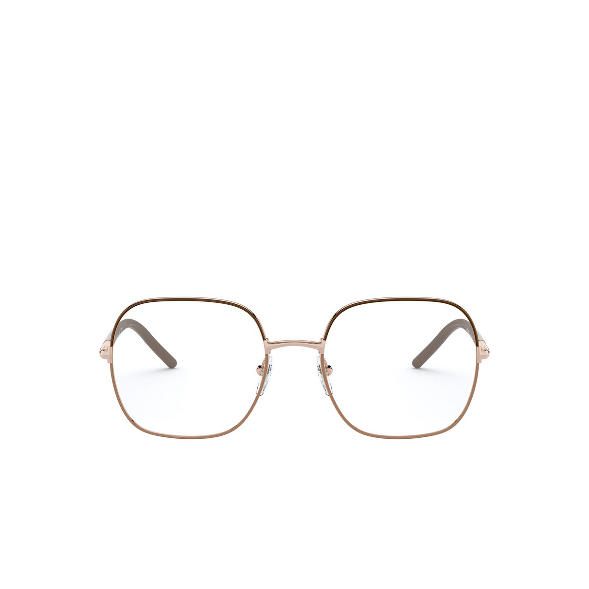 Prada® Rectangle Eyeglasses: PR 56WV color Brown / Beige 02H1O1 - front view.