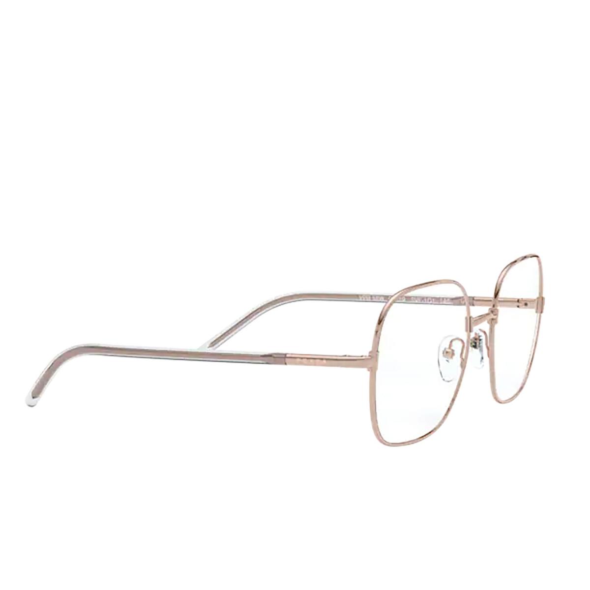 Prada® Rectangle Eyeglasses: PR 56WV color Pink Gold SVF1O1 - three-quarters view.