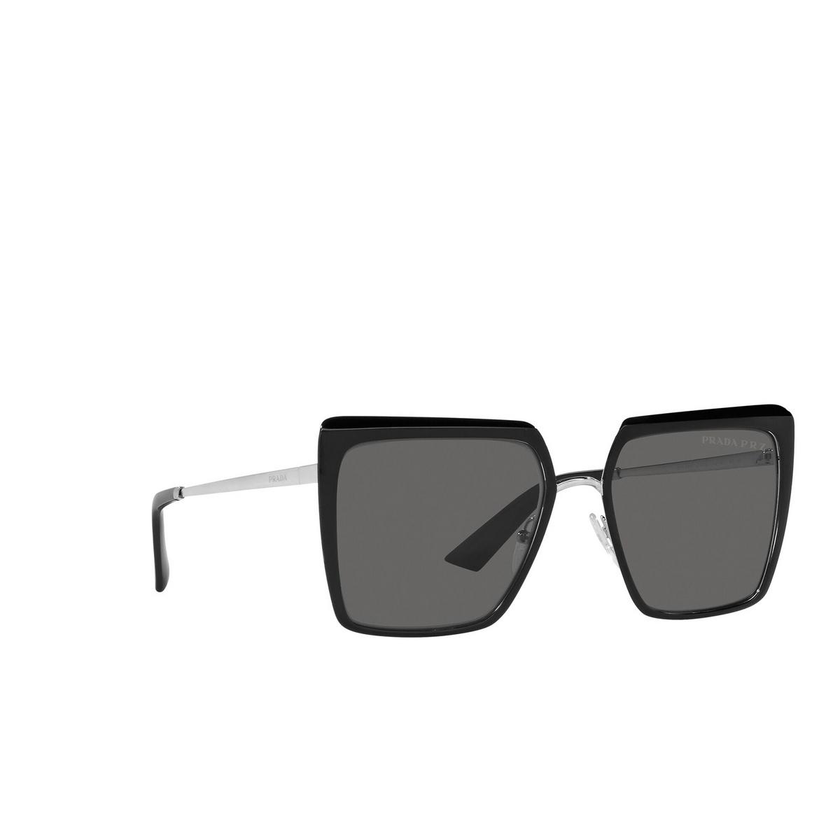 Prada® Square Sunglasses: PR 58WS color Black 1AB5Z1 - three-quarters view.