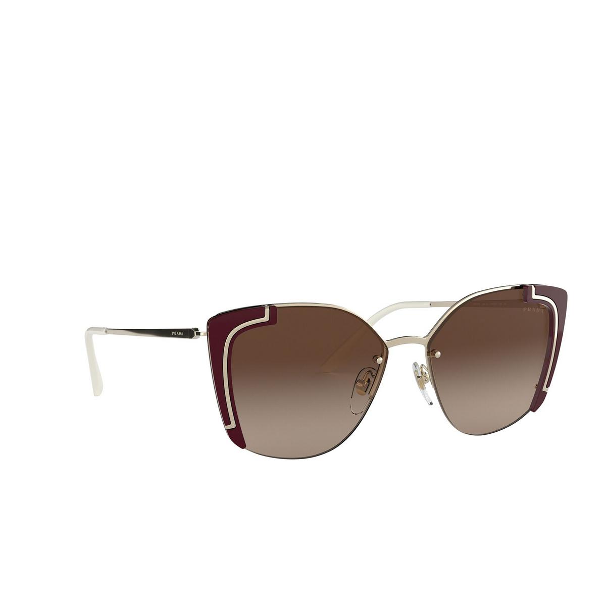 Prada® Butterfly Sunglasses: PR 59VS color Pale Gold / Bordeaux 4306S1 - three-quarters view.