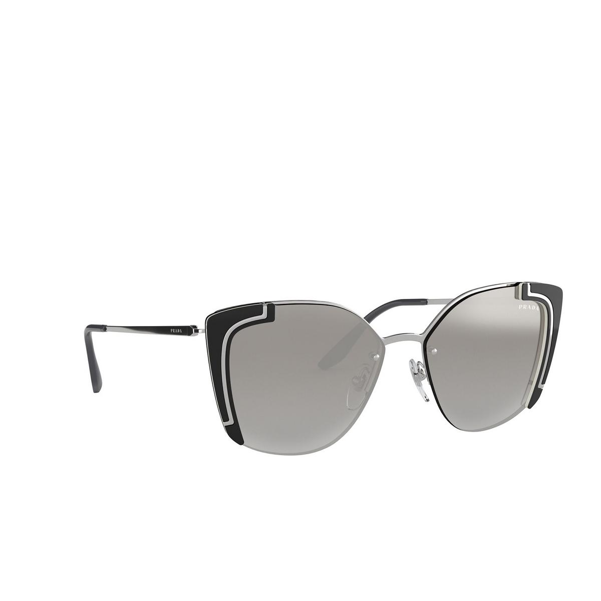 Prada® Butterfly Sunglasses: PR 59VS color Silver / Black Ivory 4315O0 - three-quarters view.